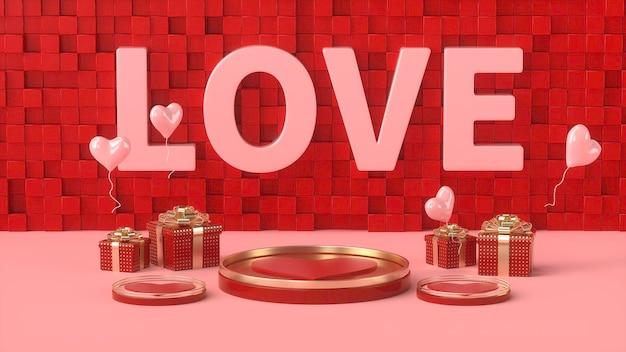 Rendus 3d de rouge romantique avec podium doré et boîte-cadeau