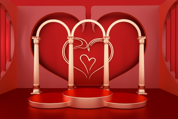 Rendus rouges romantiques 3d avec podium de cercle pour affichage de maquette