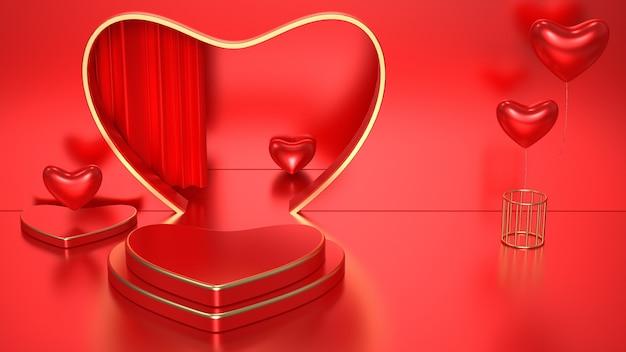 Rendus rouges romantiques 3d avec podium coeur pour maquette d'affichage