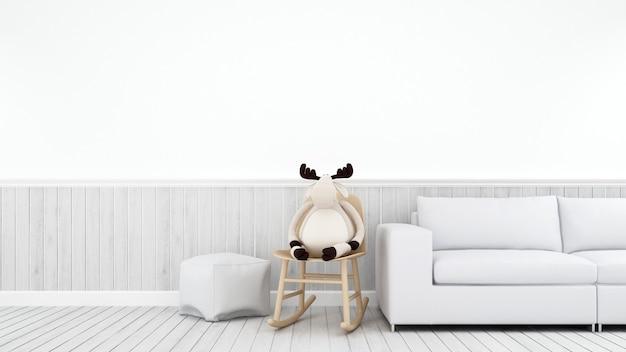 Renne sur chaise berçante dans une salle blanche ou un salon - rendu 3d