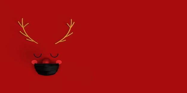 Renne de dessin animé mignon rudolf avec nez rouge brillant et masque médical