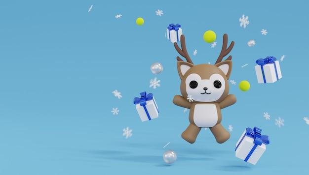 Renne de rendu 3d sauter et heureux avec quatre coffrets cadeaux et flocon de neige. joyeux noel et bonne année.