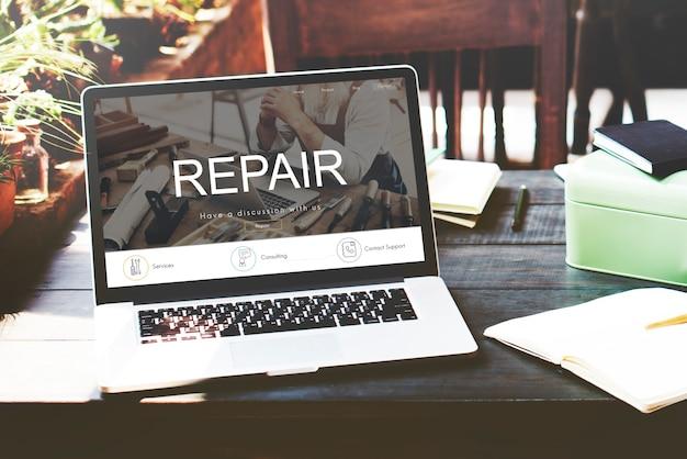 Rénovation, réparation, construction, conception, site web, concept