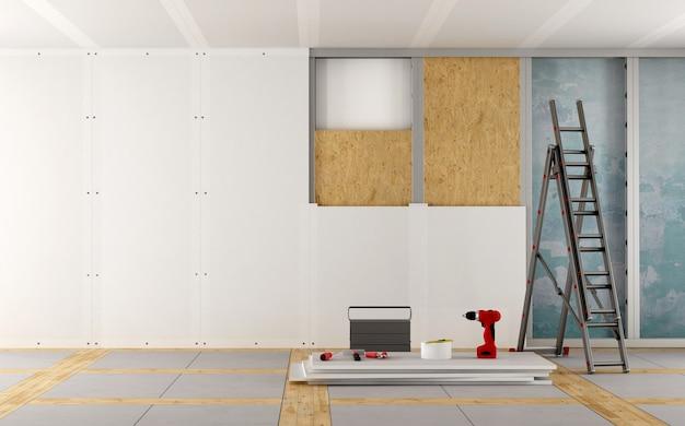 Rénovation d'une vieille maison avec des panneaux de plâtre