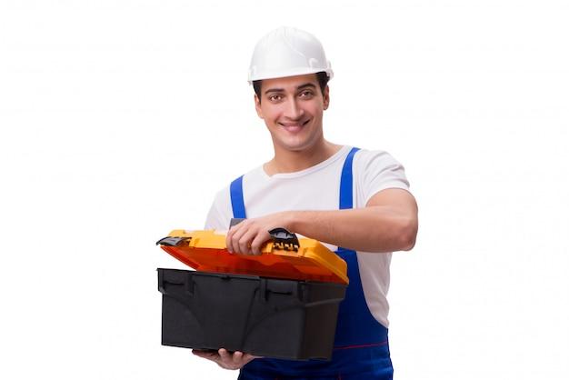 Réparateur avec boîte à outils isolé sur blanc