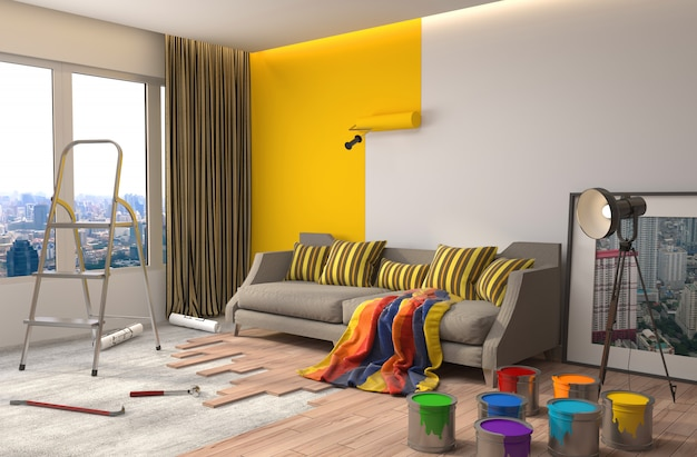 Réparation et peinture des murs dans la chambre
