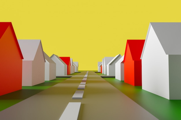 Représentation abstraite d'illustration 3d du village.
