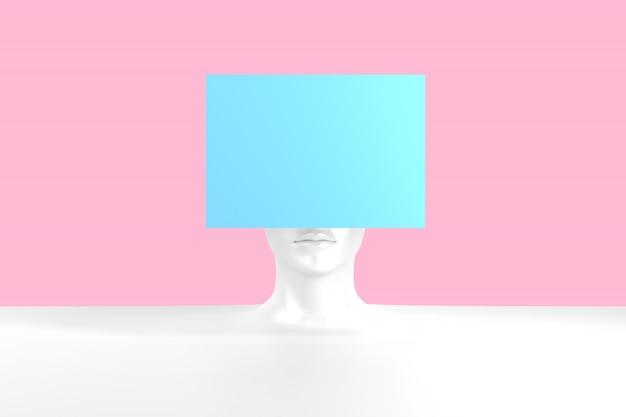 Représentation conceptuelle d'une tête féminine avec illustration 3d de problèmes écrasés