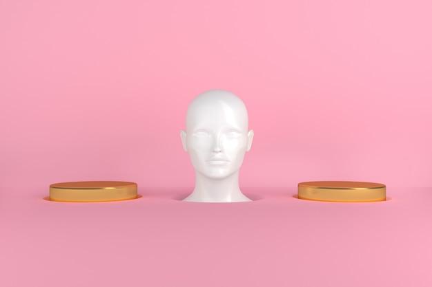Représentation conceptuelle de la tête de femme blanche femelle entre deux cylindres d'or de podiums illustration 3d