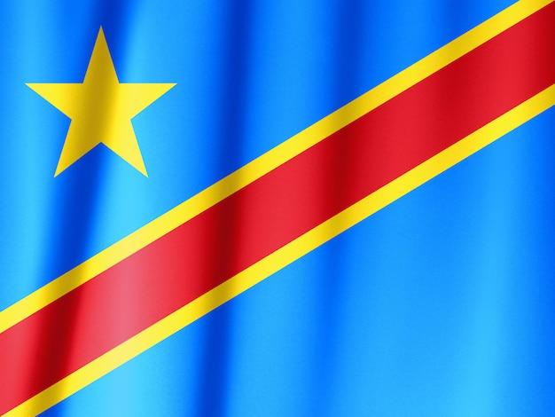République démocratique du congo, agitant le drapeau