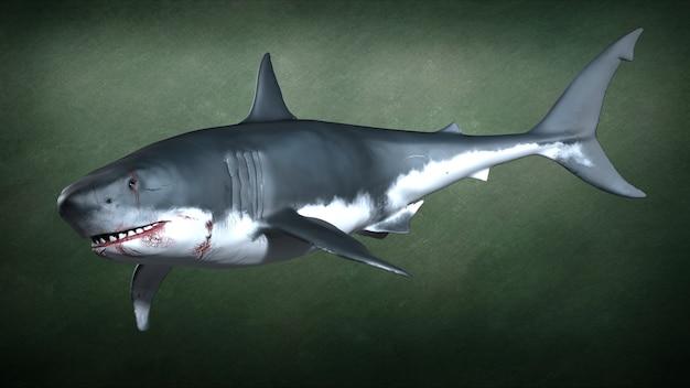 Un requin à pleines dents féroce. illustration 3d