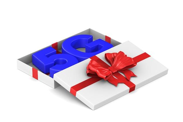 Réseau 5g dans une boîte cadeau ouverte sur blanc