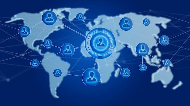 Réseau sur une carte du monde connecté sur un uniforme - rendu 3d