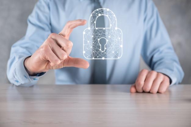 Réseau de cybersécurité. icône de cadenas et mise en réseau de la technologie internet.