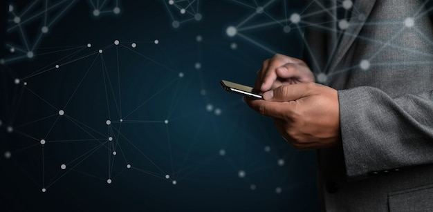 Réseau et données connexion client basé sur le web homme de réseau réseau sphère rendu 3d
