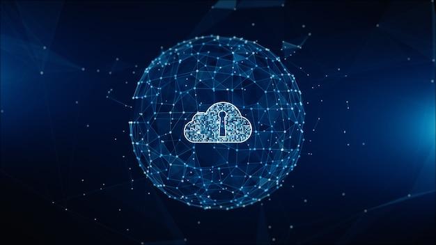 Réseau de données numériques sécurisé. concept de cybersécurité en nuage informatique. élément de terre fourni par la nasa