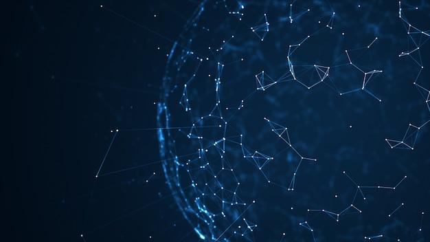 Réseau de données volumineuses et fond de concept iot