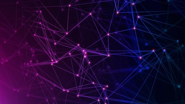 Réseau avec nœuds connectés en arrière-plan. concept technologique