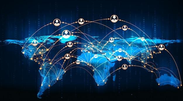 Réseau de personnes et connexion mondiale à la terre dans une perception innovante