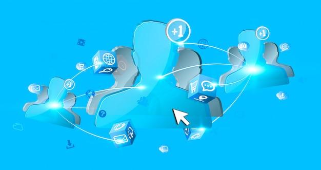 Réseau social avatar bleu