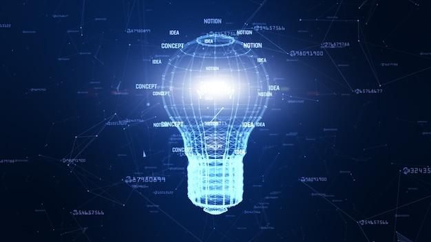 Réseau technologique avec idée créative de lampe fond bleu numérique pour réseau dans le concept numérique mondial