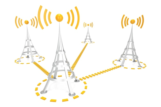 Réseau wi-fi. image générée numériquement. rendu 3d