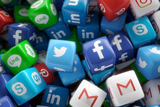 Réseaux sociaux application des icônes 3d aléatoires