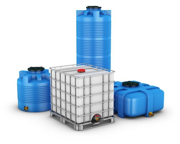 Réservoir d'eau avec grille en métal et conteneurs pour eau de différentes formes. rendu 3d.