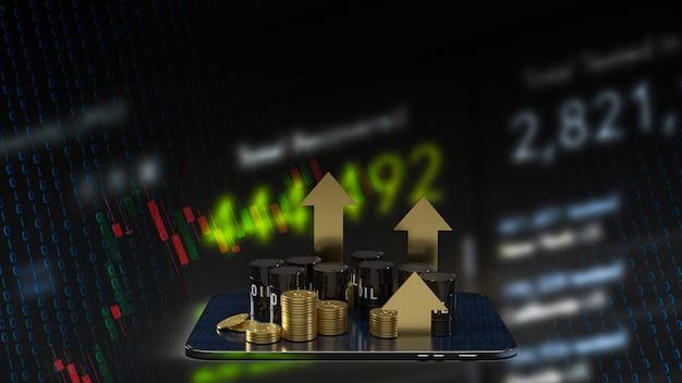 Le réservoir d'huile sur tablette et flèche d'or vers le haut pour le rendu 3d du concept d'entreprise d'énergie ou de pétrole