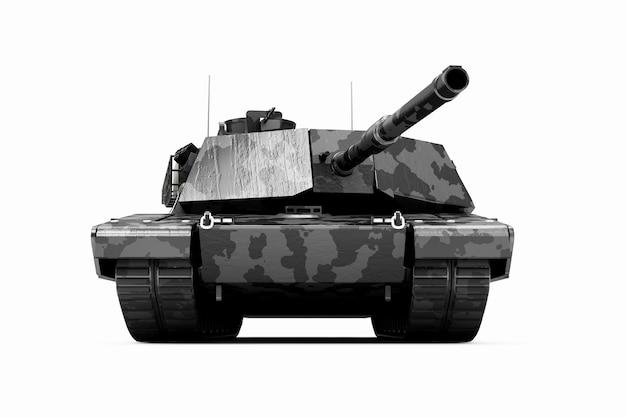 Réservoir militaire lourd noir en camouflage isolé sur fond blanc