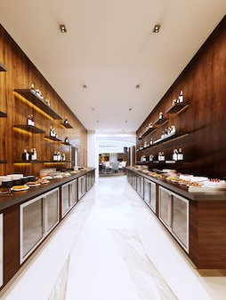 Restaurant buffet moderne de style contemporain. armoires froides et étagères décoratives avec bouteilles. conception de restaurants. rendu 3d