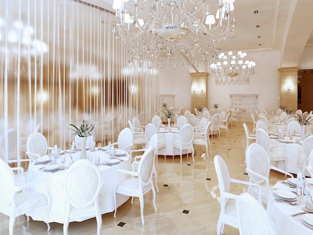 Restaurant moderne de luxe dans un style classique. avec des tables de sept personnes chacune. rendu 3d.