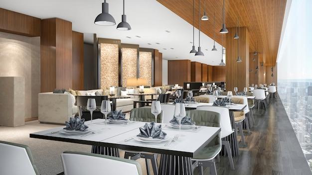 Restaurant de salon et de réception de l'hôtel de luxe en rendu 3d