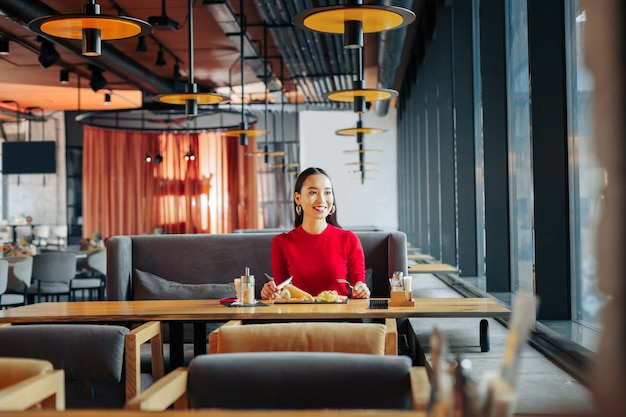 Restaurant spacieux femme d'affaires prospère aux cheveux noirs en train de déjeuner dans un restaurant spacieux et lumineux