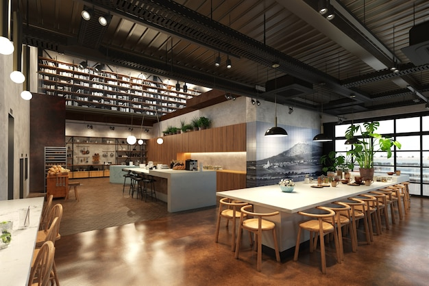 Restaurant, visualisation intérieure, illustration 3d