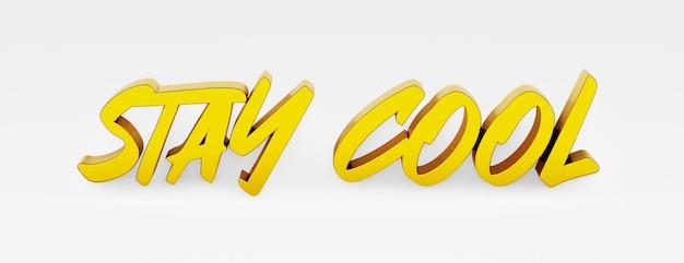 Reste calme. une phrase calligraphique et un slogan de motivation. logo 3d en or dans le style de la calligraphie à la main sur un fond uniforme blanc avec des ombres. illustration 3d.