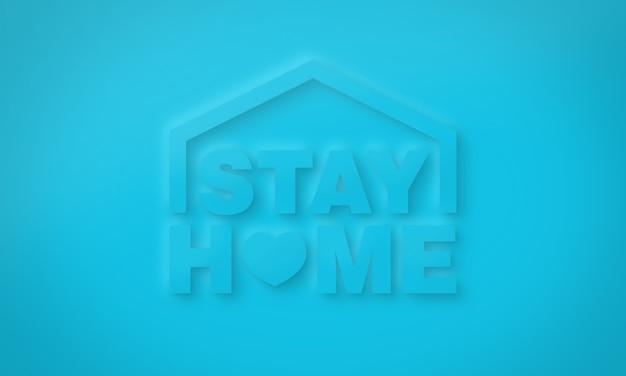 Restez à la maison typographie conceptuelle pour la communication en ligne