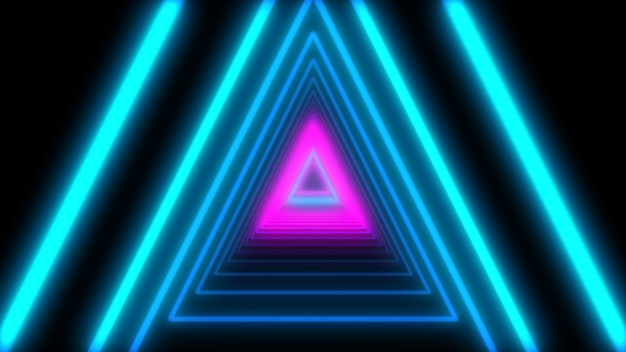 Résumé 3d lumières triangles de néon. animation en boucle.