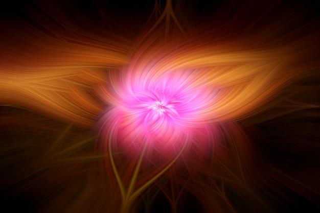 Résumé abstrait fibres légères tordues rose jaune orange