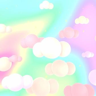 Résumé ciel feuille holographique avec des nuages image de rendu 3d