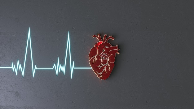 Résumé coeur plat sur le concept de surface de pierre. modèle de curseur de site web espace copie médicale ou chirurgien. illustration 3d