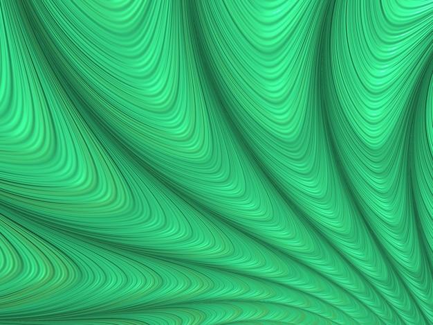 Résumé des courbes fractales vertes texturées, fond de rendu 3d.
