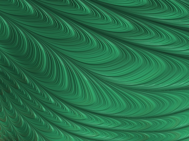 Résumé des courbes fractales vertes texturées, rendu 3d.