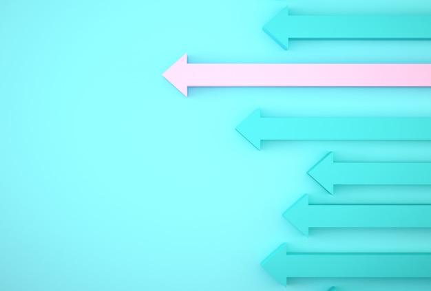 Résumé du graphique de la flèche rose sur fond bleu, plan de croissance future de l'entreprise. développement des affaires à succès et concept de croissance croissante.