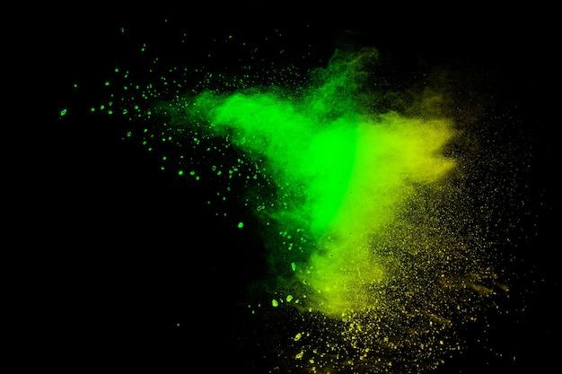 Résumé des éclaboussures de poudre de couleur verte
