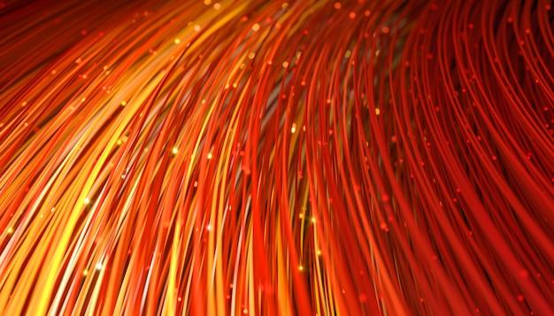 Résumé des fils de télécommunication colorés avec une lueur à la fin, illustration 3d