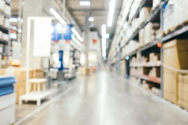Résumé flou décoration de meubles et magasin entrepôt
