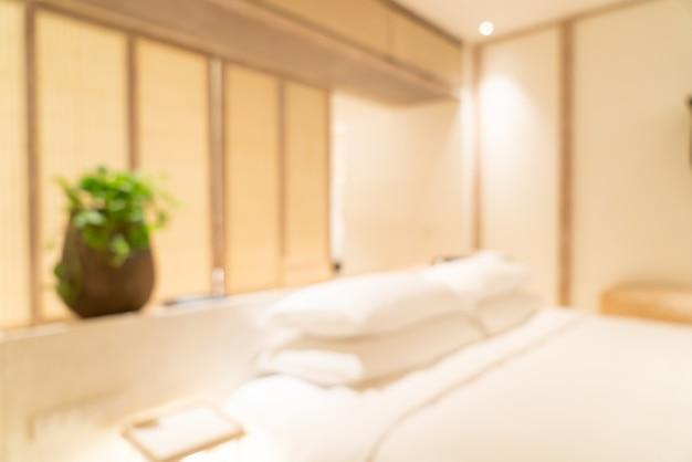 Résumé flou intérieur de chambre à coucher de l'hôtel de luxe pour le fond