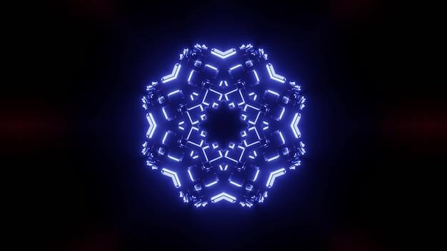 Résumé fond de couloir sombre ornemental avec néon bleu brillant