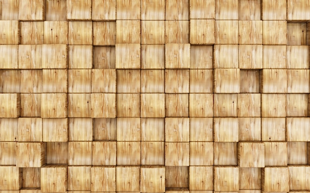 Résumé fond fabriqué à partir de cubes en bois. rendu 3d